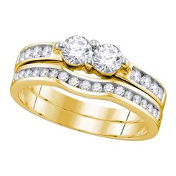 0.51 CTW Diamond 2-stone Bridal Wedding Engagement Ring 10KT Yellow Gold - REF-41F9N