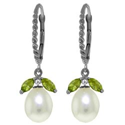 Genuine 9 ctw Peridot & Pearl Earrings Jewelry 14KT White Gold - REF-39W3Y