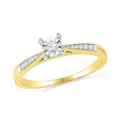 0.10 CTW Diamond Solitaire Bridal Engagement Ring 10KT Yellow Gold - REF-14W9K