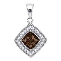 0.25 CTW Cognac-brown Color Diamond Square Pendant 10KT White Gold - REF-13K4W