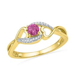 0.06 CTW Created Pink Sapphire Diamond Heart Ring 10KT Yellow Gold - REF-13K4W