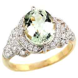 Natural 2.92 ctw green-amethyst & Diamond Engagement Ring 14K Yellow Gold - REF-102G7M