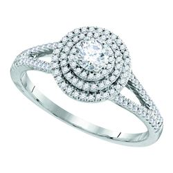 0.50 CTW Diamond Solitaire Triple Halo Bridal Engagement Ring 10KT White Gold - REF-64F4N