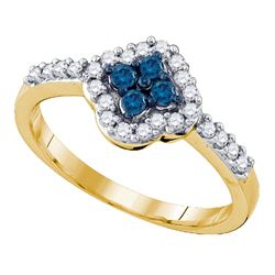 0.40 CTW Blue Color Diamond Cluster Ring 10KT Yellow Gold - REF-26M9H