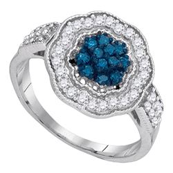 0.50 CTW Blue Color Diamond Octagon Cluster Ring 10KT White Gold - REF-34N4F