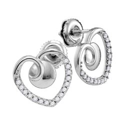 0.25 CTW Diamond Heart Screwback Earrings 10KT White Gold - REF-18K2W