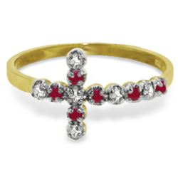 Genuine 0.24 ctw Ruby & Diamond Ring Jewelry 14KT Yellow Gold - REF-35T2A