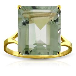 Genuine 6.5 ctw Green Amethyst Ring Jewelry 14KT Yellow Gold - REF-43N8R