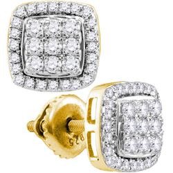 0.51 CTW Diamond Square Cluster Earrings 10KT Yellow Gold - REF-37M5H
