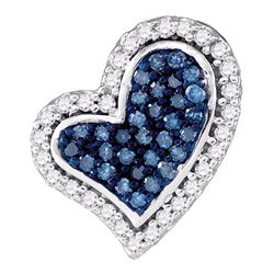 0.14 CTW Blue Color Diamond Heart Love Pendant 10KT White Gold - REF-14H9M