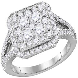 1.5 CTW Diamond Square Cluster Bridal Engagement Ring 14KT White Gold - REF-165X2Y
