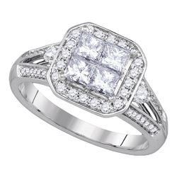 1 CTW Princess Diamond Cluster Bridal Engagement Ring 14KT White Gold - REF-146K9W
