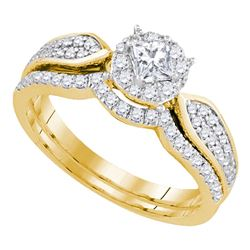 0.75 CTW Princess Diamond Bridal Engagement Ring 14k Yellow Gold - REF-97X4Y