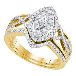 0.88 CTW Princess Diamond Oval Bridal Engagement Ring 14KT Yellow Gold - REF-97N4F