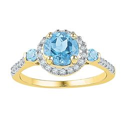 0.20 CTW Created Blue Topaz Solitaire Diamond Ring 10KT Yellow Gold - REF-30W2K