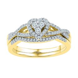 0.38 CTW Diamond Heart Bridal Engagement Ring 10KT Yellow Gold - REF-37N5F