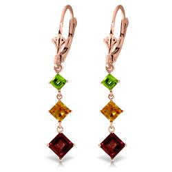 Genuine 4.8 ctw Garnet, Citrine & Peridot Earrings Jewelry 14KT Rose Gold - REF-49P3H