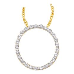 0.50 CTW Diamond Circle Outline Pendant 14KT Yellow Gold - REF-44W9K