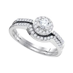 0.45 CTW Diamond Halo Bridal Engagement Ring 10KT White Gold - REF-44M9H