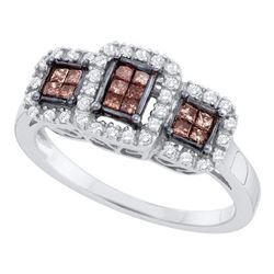 0.41 CTW Princess Cognac-brown Color Diamond Ring 14KT White Gold - REF-49W5K