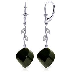Genuine 31.02 ctw Black Spinel & Diamond Earrings Jewelry 14KT White Gold - REF-53X4M