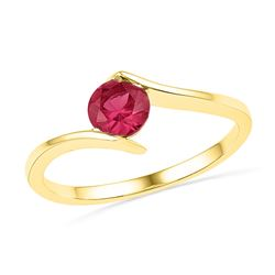 0.75 CTW Created Ruby Solitaire Ring 10KT Yellow Gold - REF-8Y9X