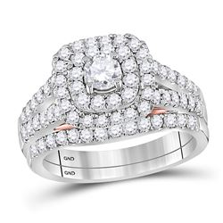 1.26 CTW Diamond Bellissimo Double Square Halo Bridal Ring 14KT White Gold - REF-172H4M