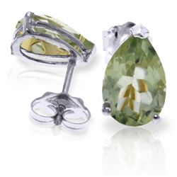 Genuine 3.15 ctw Green Amethyst Earrings Jewelry 14KT White Gold - REF-21F2Z
