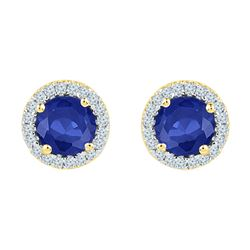 1.5 CTW Created Blue Sapphire Diamond Stud Earrings 10KT Yellow Gold - REF-19Y4X