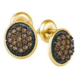 0.50 CTW Cognac-brown Color Diamond Cluster Earrings 10KT Yellow Gold - REF-26M9H