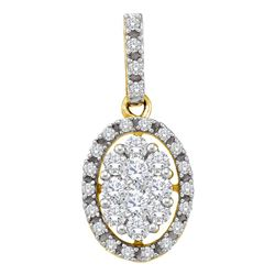 0.50 CTW Diamond Oval Cluster Pendant 14KT Yellow Gold - REF-44X9Y