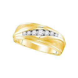 0.39 CTW Mens Diamond Wedding Ring 10KT Yellow Gold - REF-52K4W