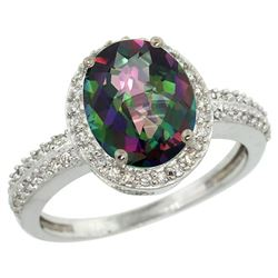 Natural 2.56 ctw Mystic-topaz & Diamond Engagement Ring 10K White Gold - REF-32W7K