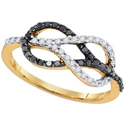 0.32 CTW Black Color Diamond Infinity Lasso Loop Ring 10KT Yellow Gold - REF-22H4M