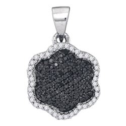 0.25 CTW Black Color Diamond Hexagon Cluster Pendant 10KT White Gold - REF-16N4F