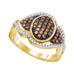 0.50 CTW Cognac-brown Color Diamond Oval Cluster Ring 10KT Yellow Gold - REF-36N2F
