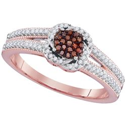 0.26 CTW Red Color Diamond Cluster Ring 10KT Rose Gold - REF-30F2N