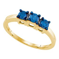 0.50 CTW Blue Color Diamond 3-stone Bridal Ring 10KT Yellow Gold - REF-26M9H