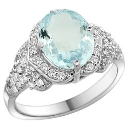 Natural 2.62 ctw aquamarine & Diamond Engagement Ring 14K White Gold - REF-112K5R