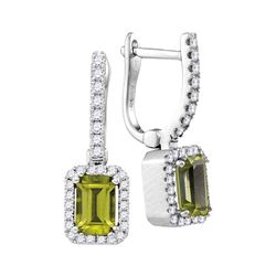 1.61 CTW Natural Emerald Peridot Diamond Dangle Earrings 14KT White Gold - REF-75K2W