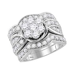 3.03 CTW Diamond 3-Piece Flower Bridal Engagement Ring 14KT White Gold - REF-299X9Y