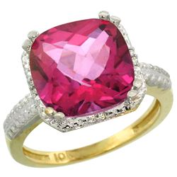Natural 5.96 ctw Pink-topaz & Diamond Engagement Ring 10K Yellow Gold - REF-32R4Z