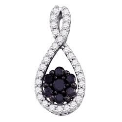 0.40 CTW Black Color Diamond Teardrop Cluster Pendant 10KT White Gold - REF-18M2H