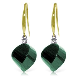 Genuine 30.6 ctw Green Sapphire Corundum & Diamond Earrings Jewelry 14KT Yellow Gold - REF-51K9V