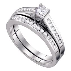 0.49 CTW Princess Diamond Bridal Engagement Ring 10KT White Gold - REF-44M9H