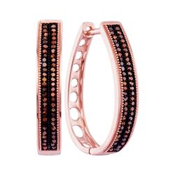 0.34 CTW Diamond Double Row Oblong Hoop Earrings 10KT Rose Gold - REF-46Y4X