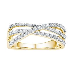 0.50 CTW Diamond Triple Strand Crossover Ring 10KT Yellow Gold - REF-41X9Y