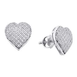 0.33 CTW Diamond Heart Earrings 10KT White Gold - REF-24Y2X