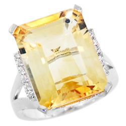 Natural 12.13 ctw Citrine & Diamond Engagement Ring 14K White Gold - REF-71N2G