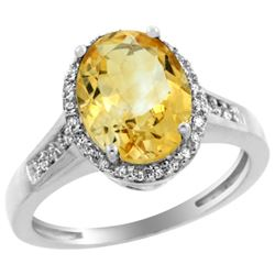 Natural 2.49 ctw Citrine & Diamond Engagement Ring 14K White Gold - REF-42V2F